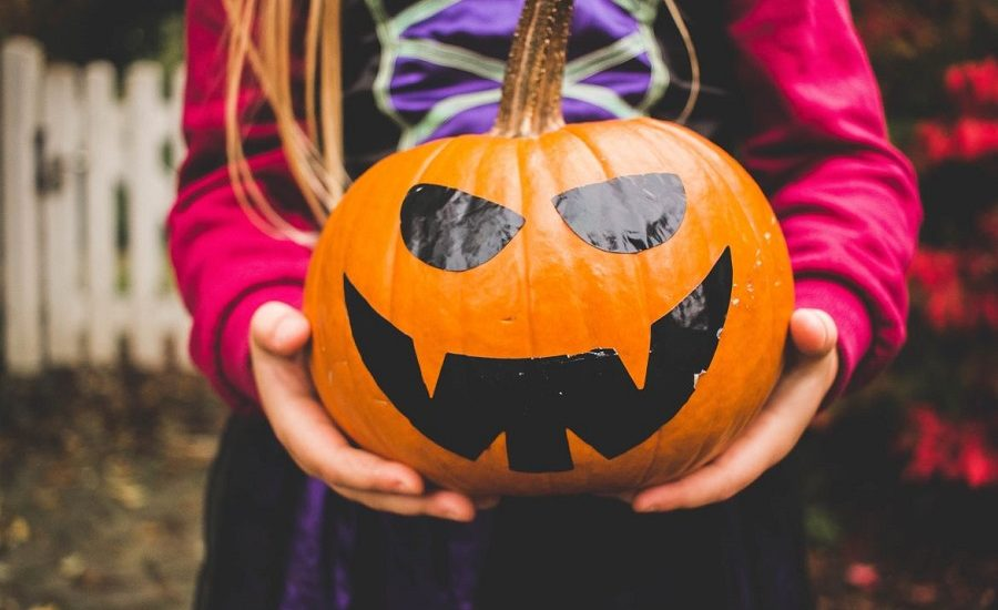 Young girl in a costume holding a jack o lantern